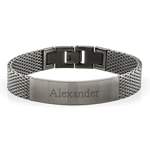 Gun Metal Mesh Men's ID Bracelet Things Engraved