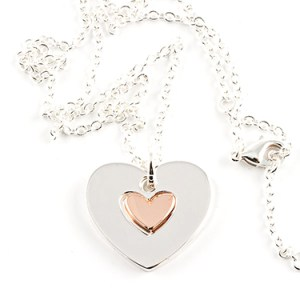 Rose Gold and Silver Heart Flip Necklace Things Engraved