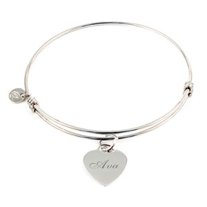 """Alluring"" Sterling Silver Bangle with Heart Charm Things Engraved"