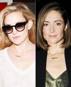 Kate Hudson and Rose Bryne wearing bar necklaces