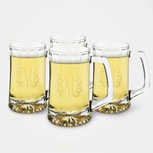 Set of 4 Steins with Monogram Included