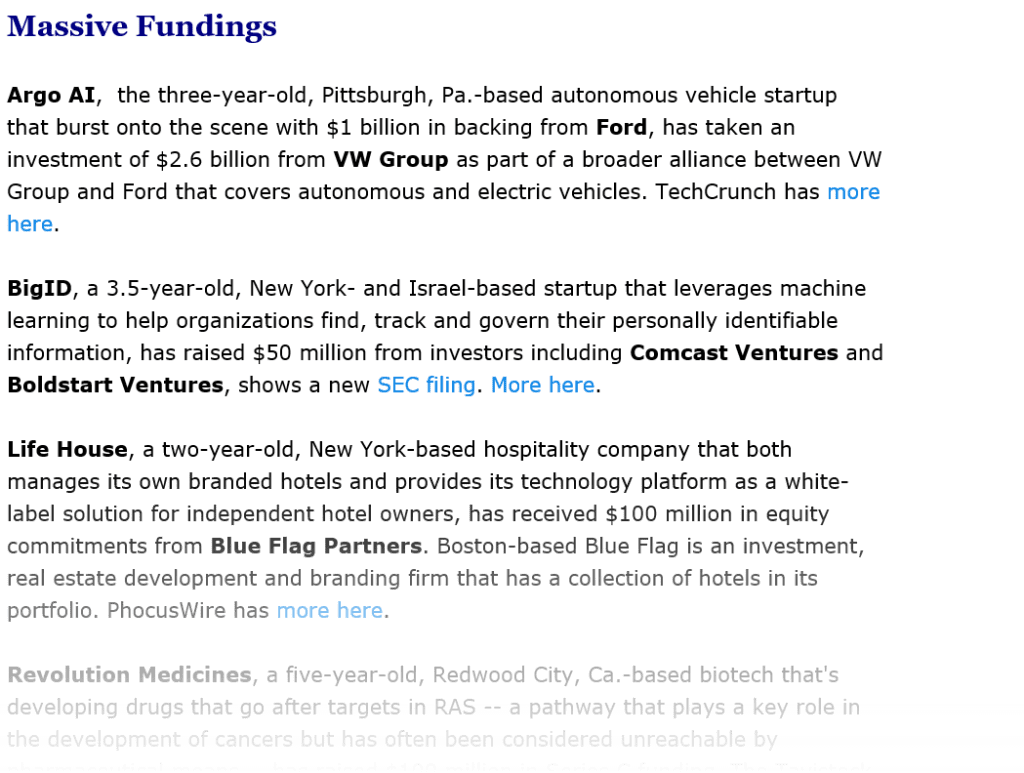 example of StrictlyVC daily newsletter: Massive Funding of young companies