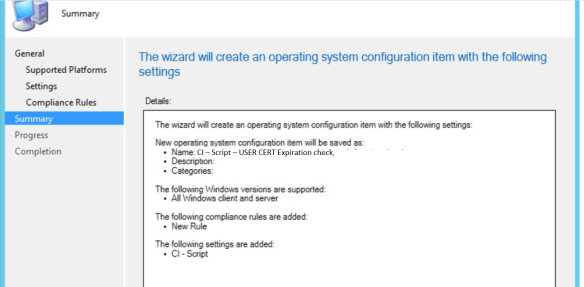create an operating system configuration item with the following settings