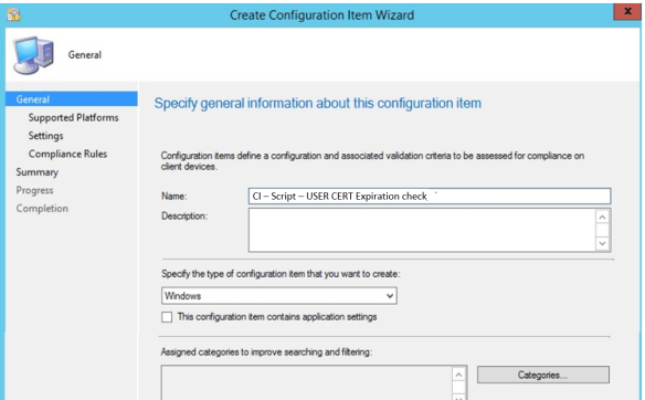 Configuration Item Wizard