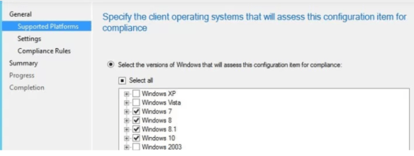 client operating systems that will assess this configuration item for compliance