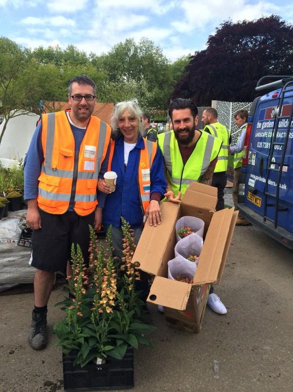 Michael Perry delivering the precious cargo to the Gonzalez Garden Design garden