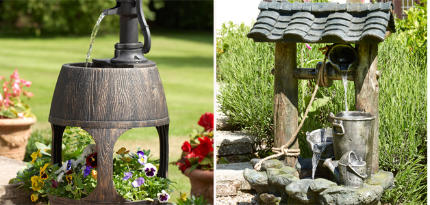 Water feature and planter & Wishing well water feature