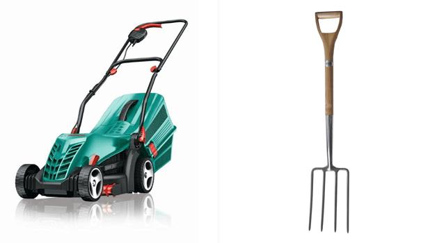 Lawn mower & garden fork