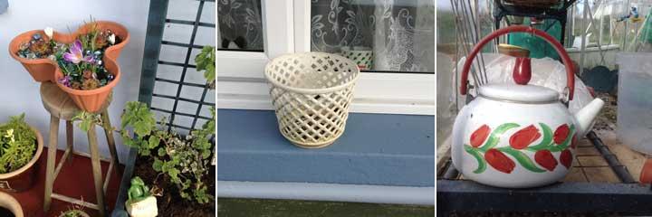 stool, basket, kettle