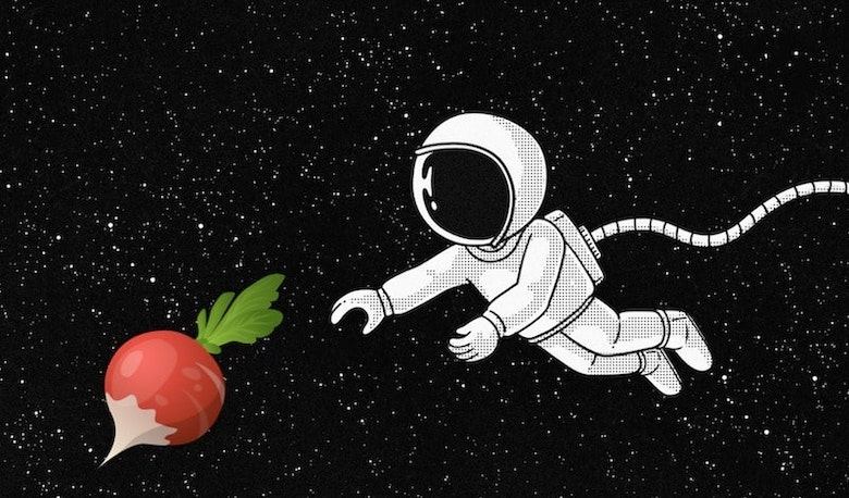 Logo for Unconventional Emma - astronut chasing a radish in space