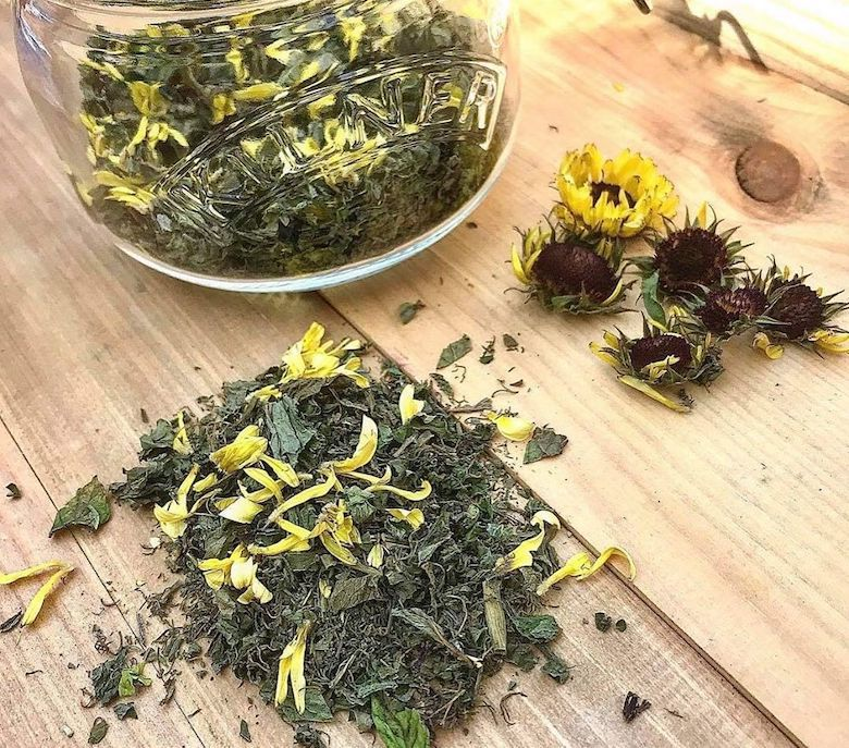 mixed herbs with calendula
