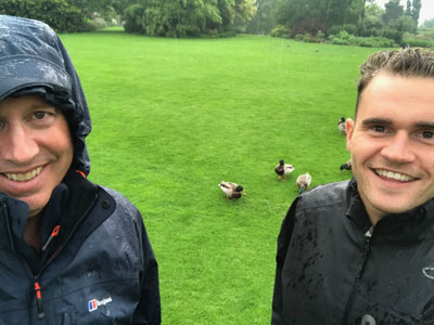 Peter and I getting soaked in the rain