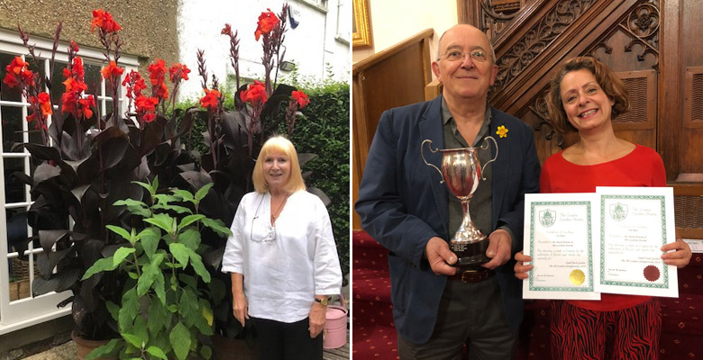 Carolines friend Diane with her Canna Lilies and David and Caroline with their awards