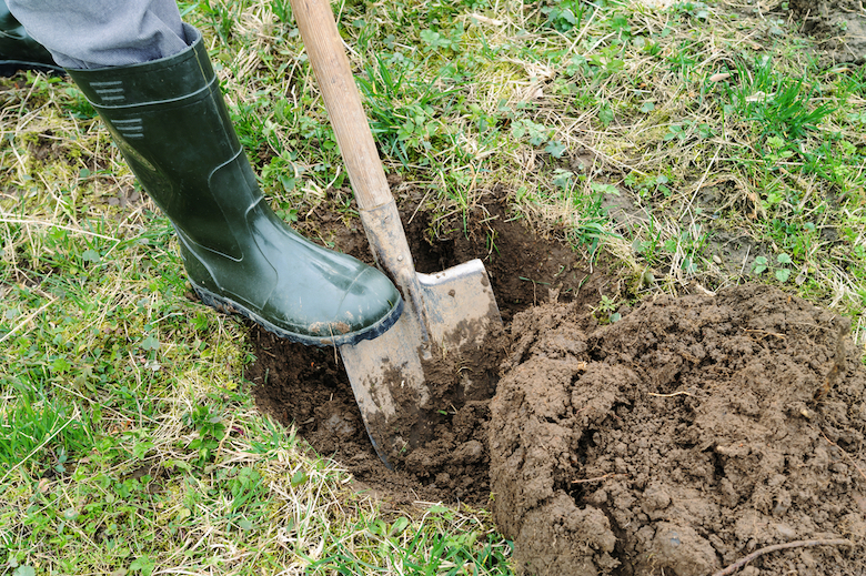 Closeup of man in green welly boots digging hole in the ground ready for planting