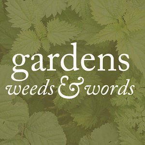 Logo of the gardens, weeds & words podcast