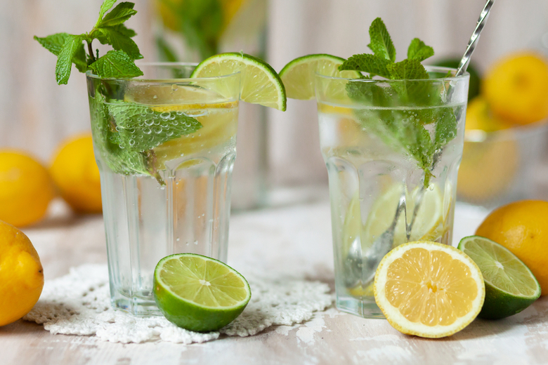 Stock image of a lemon and lime drink