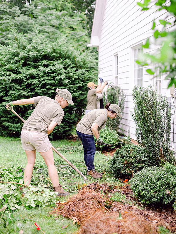 Those Plant Ladies pruning shrubs and laying mulch at The Hickory House.