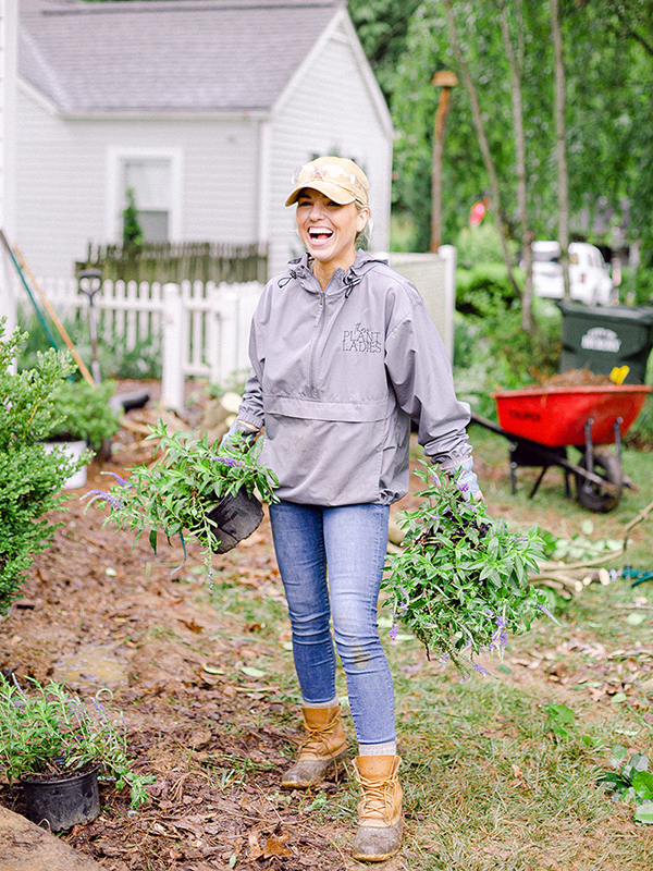 Those Plant Ladies co-owner Fawn Wilson at the Hickory House installation. Landscape design by Fawn Renae Designs.