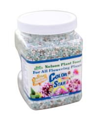 Nelson's Color Star Fertilizer from Those Plant Ladies. Clear container with lid.