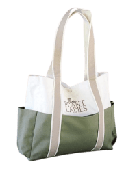 Garden tote from Those Plant Ladies: green around the bottom, ivory on the top, and tan handles with Those Plant Ladies logo. Exterior pocket visible.