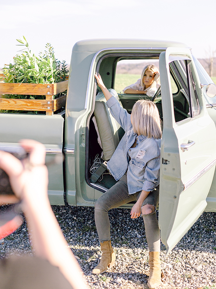 Fawn and Heather in the broken-down truck for the photoshoot with Those Plant Ladies.