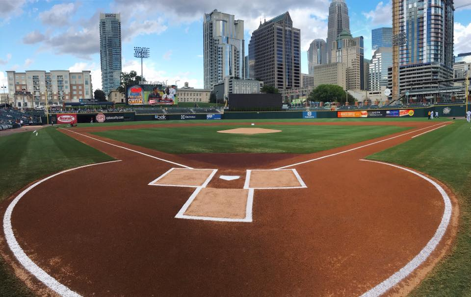 A wide-lense view of the Charlotte Knights stadium; taken behind home plate.