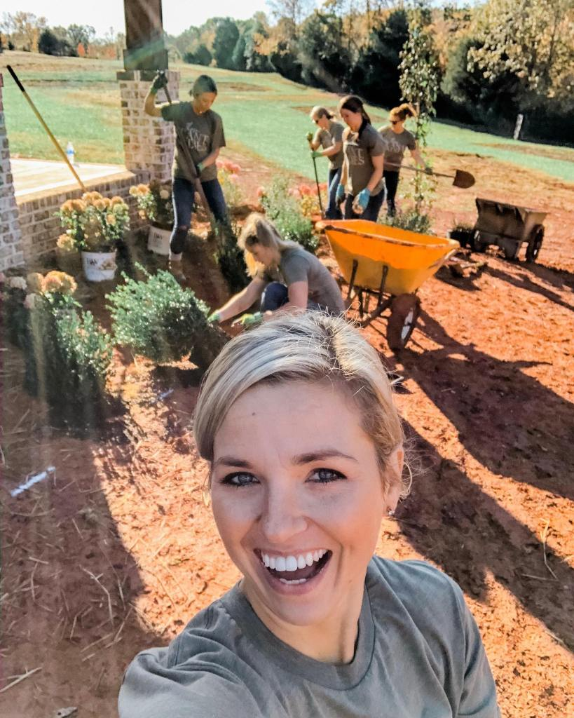Fawn of Those Plant Ladies with her first all-female landscape crew.