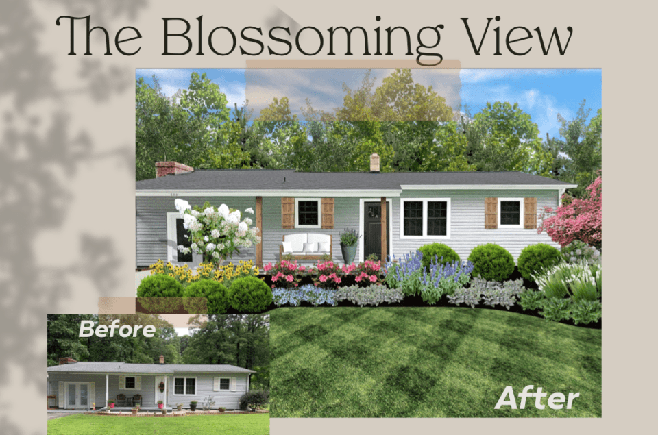 The Blossoming View designed by Fawn Renae Designs and installed by Those Plant Ladies.