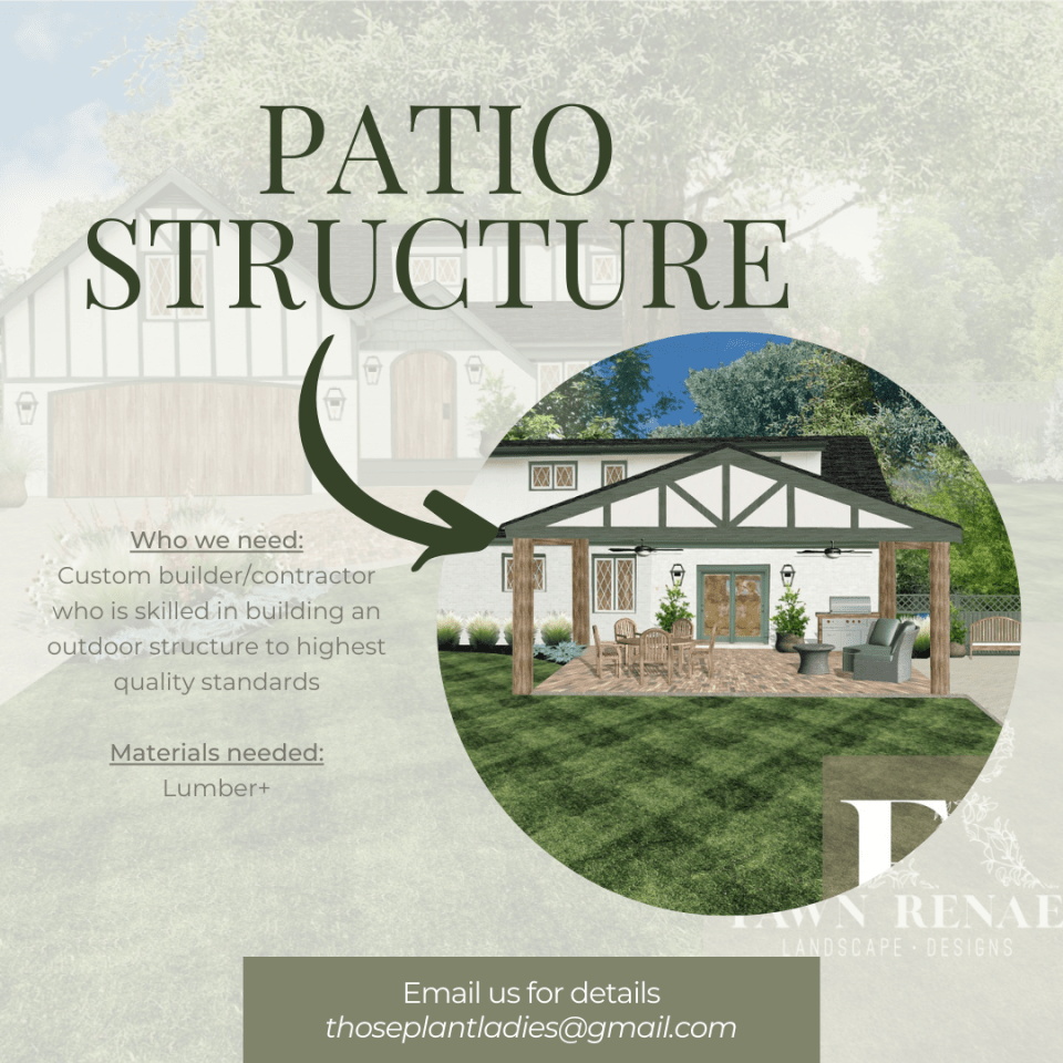 Infographic with details about the patio structure for the local HGTV-inspired TV show created by Those Plant Ladies.