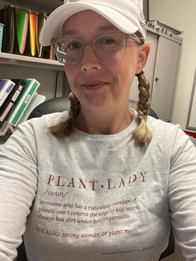 Sarah Martin, featured on the Those Plant Ladies blog, industry spotlight series; Sarah seen here sporting the Those Plant Ladies definition tee.