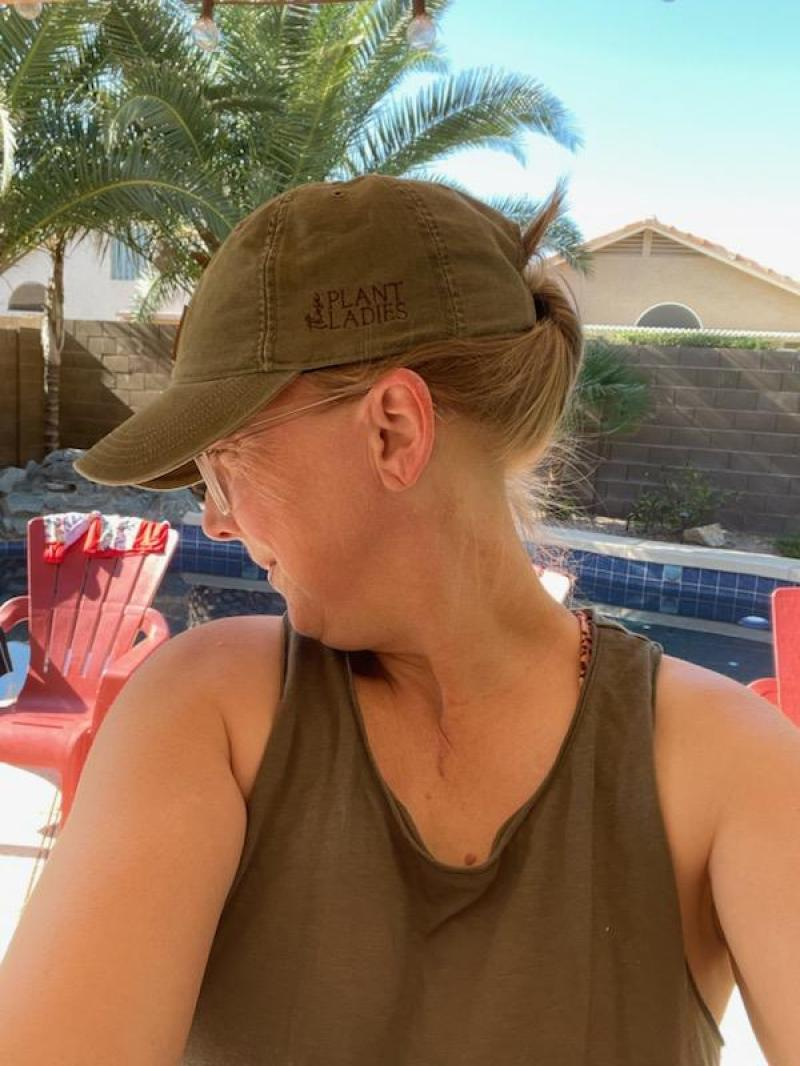 Sarah Martin, featured on the Those Plant Ladies blog, industry spotlight series; Sarah seen here sporting the Those Plant Ladies Carhartt hat.