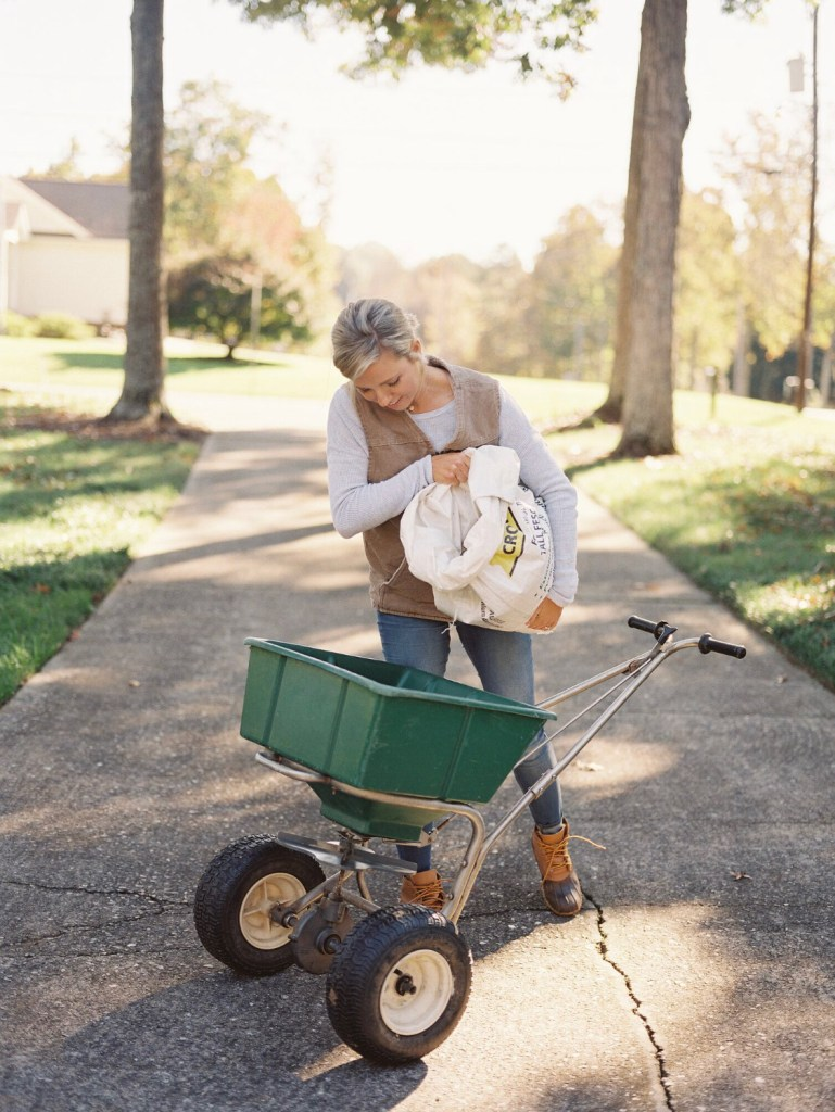 5 steps to get a luscious, thriving lawn with Those Plant Ladies -- Fawn preparing to seed her lawn.
