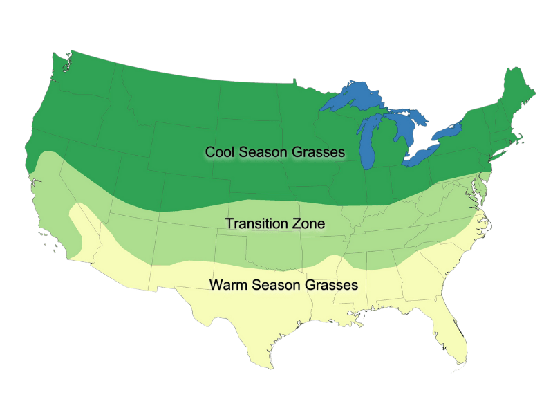 A map of the cool season grasses, warm season grasses, and transitional zones for Those Plant Ladies.
