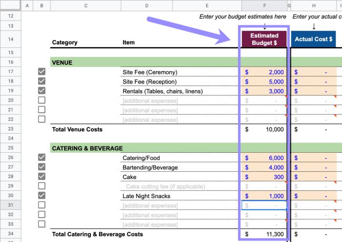 Enter Your Wedding Budget Estimates