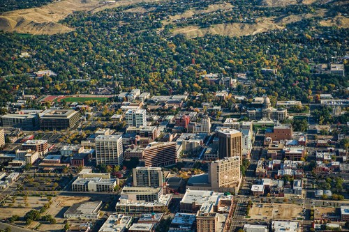 Aerial view of downtown Boise and Boise Hills.