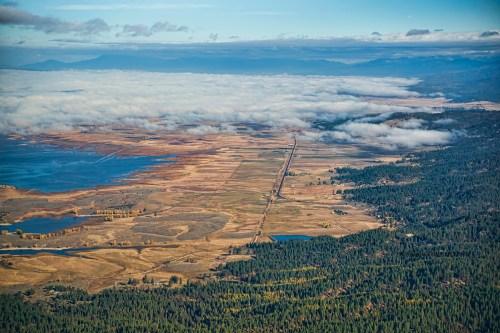 Aerial view of the Cascade Reservoir, Idaho.
