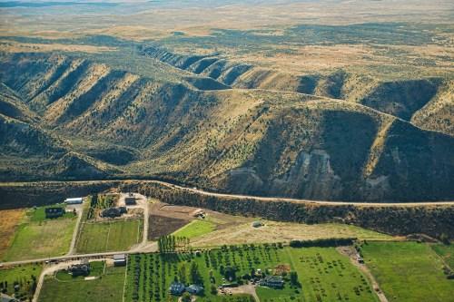 Aerial view of the topography near Emmett, Idaho.