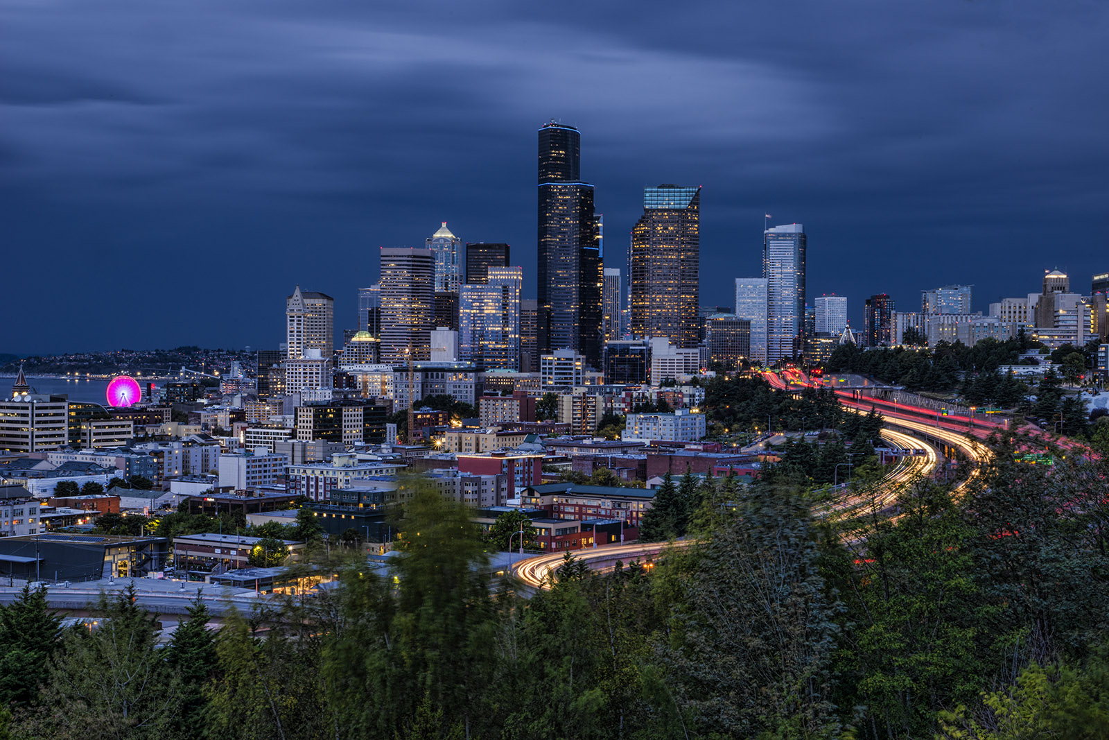 View from Dr. Jose Rizal Park -- Seattle Skyline (Stormy)