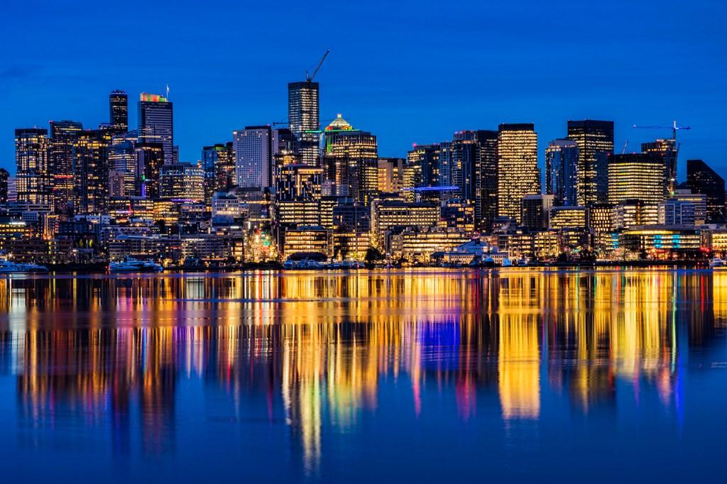 Seattle skyline along Lake Union on Christmas morning. (December 25, 2019).