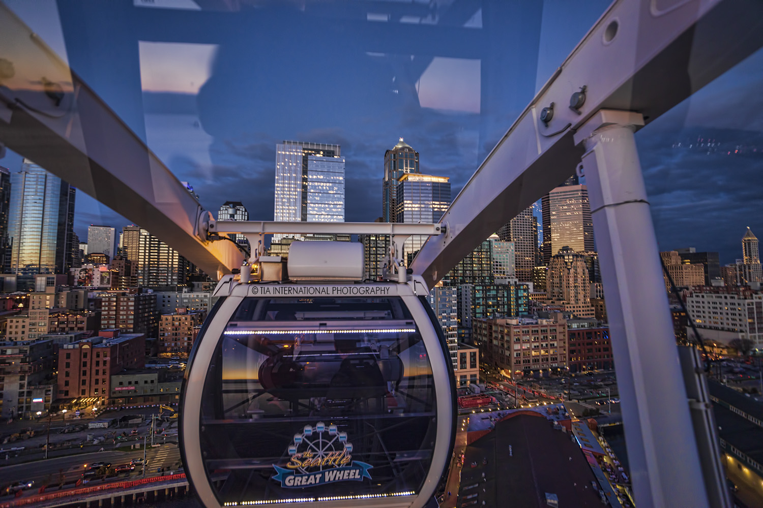 Inside the gondola at the Seattle Great Wheel.