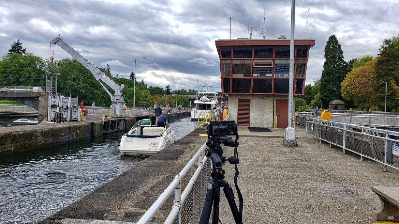 Camera setup for timelapse at Ballard Locks. (May 8, 2021)