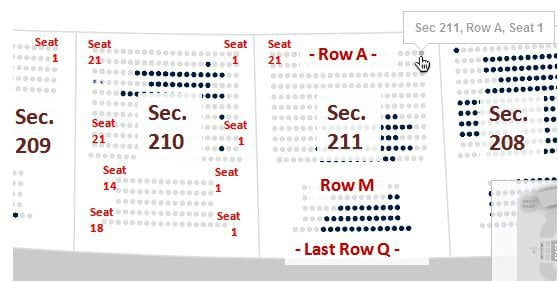 Heinz Feild Seating Chart Rows And Seat Numbers The 200s