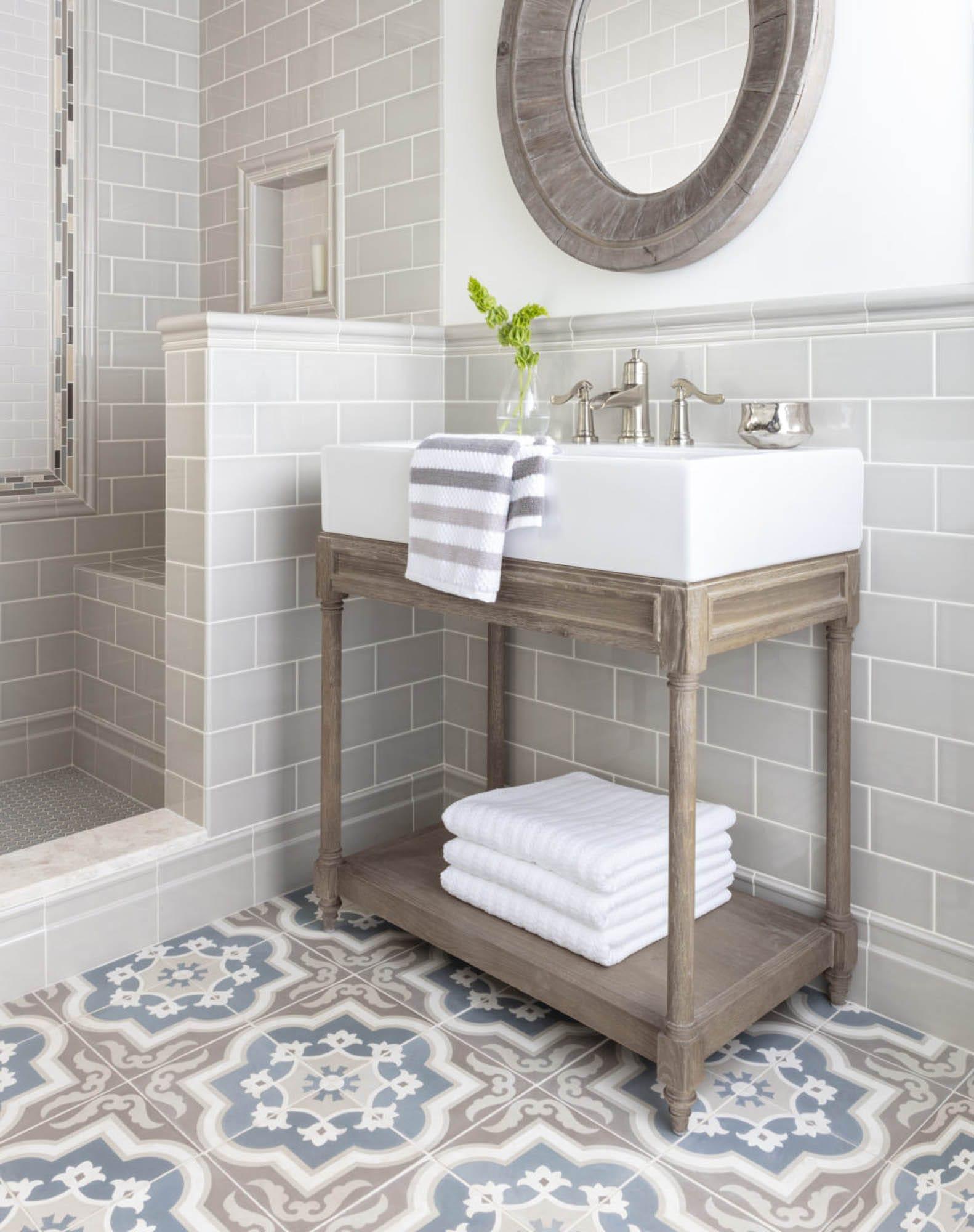 How to Achieve Modern Farmhouse Design with Tile - The ... on Farmhouse Tile Bathroom Floor  id=75504