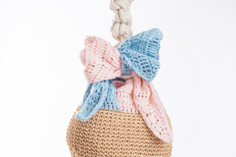 tiny rabbit hole crochet bag furoshiki amigurumi sakura transformable ribbon bow sasawashi organic cotton paume daruma