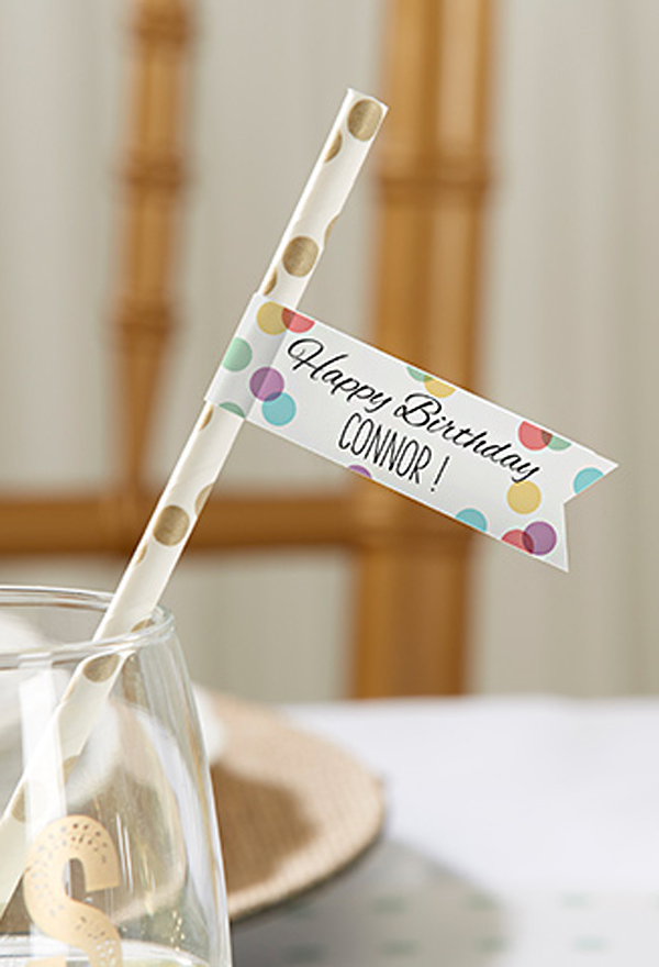 Paper straw with personalized flag