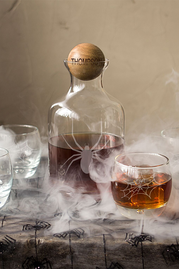 Personalized engraved Halloween whiskey decanter with wooden stopper