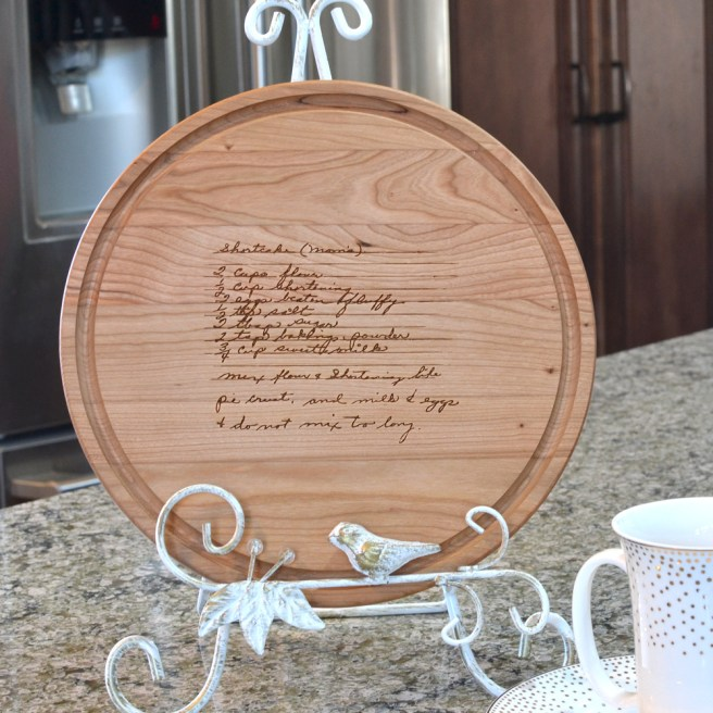 Cutting board with family recipe inscribed on it