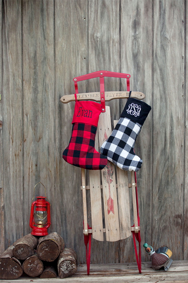 Sled and personalized Christmas stocking decorations
