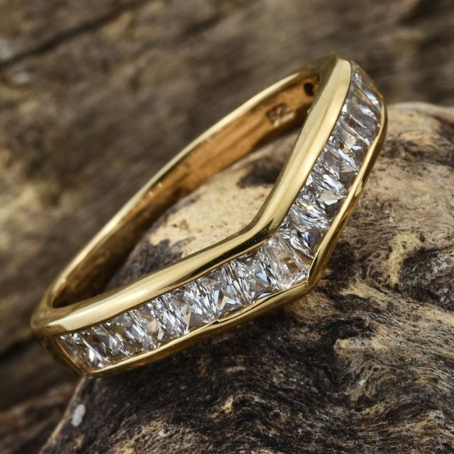 J Francis - 14K Gold Overlay Sterling Silver Wishbone Ring