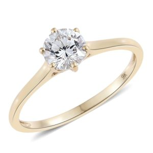 9K Yellow Gold Solitaire Ring Made with SWAROVSKI ZIRCONIA
